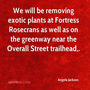 Angela Jackson - We will be removing exotic plants at Fortress Rosecrans as well as on the greenway near the Overall Street trailhead.