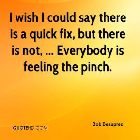 Bob Beauprez - I wish I could say there is a quick fix, but there is not, ... Everybody is feeling the pinch.