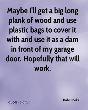 Bob Brooks - Maybe I'll get a big long plank of wood and use plastic bags to cover it with and use it as a dam in front of my garage door. Hopefully that will work.