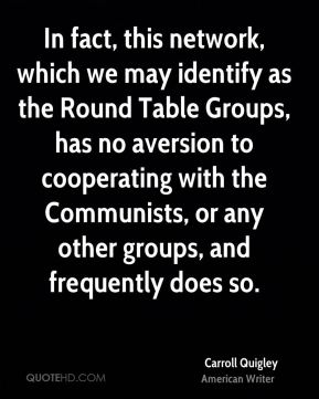 Carroll Quigley - In fact, this network, which we may identify as the Round Table Groups, has no aversion to cooperating with the Communists, or any other groups, and frequently does so.