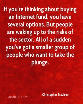 If you're thinking about buying an Internet fund, you have several options. But people are waking up to the risks of the sector. All of a sudden you've got a smaller group of people who want to take the plunge.