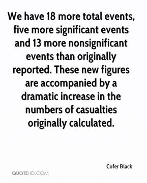 Cofer Black - We have 18 more total events, five more significant events and 13 more nonsignificant events than originally reported. These new figures are accompanied by a dramatic increase in the numbers of casualties originally calculated.