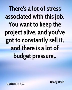 There's a lot of stress associated with this job. You want to keep the project alive, and you've got to constantly sell it, and there is a lot of budget pressure.
