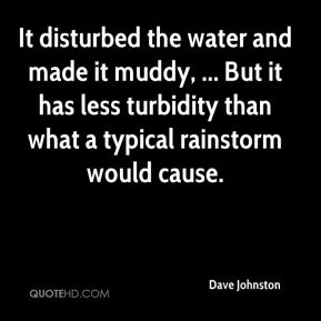 Dave Johnston - It disturbed the water and made it muddy, ... But it has less turbidity than what a typical rainstorm would cause.