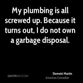 My plumbing is all screwed up. Because it turns out, I do not own a garbage disposal.