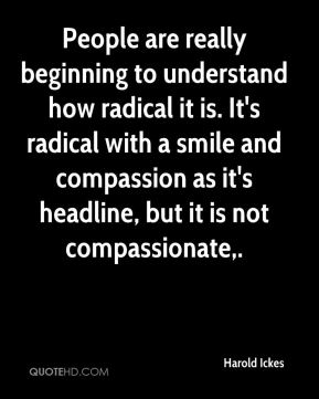 Harold Ickes - People are really beginning to understand how radical it is. It's radical with a smile and compassion as it's headline, but it is not compassionate.