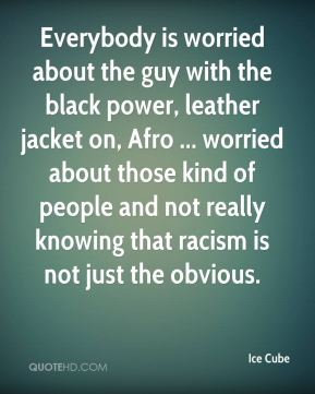 Ice Cube - Everybody is worried about the guy with the black power, leather jacket on, Afro ... worried about those kind of people and not really knowing that racism is not just the obvious.