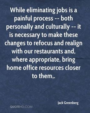 While eliminating jobs is a painful process -- both personally and culturally -- it is necessary to make these changes to refocus and realign with our restaurants and, where appropriate, bring home office resources closer to them.