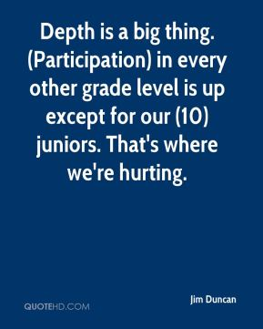 Jim Duncan  - Depth is a big thing. (Participation) in every other grade level is up except for our (10) juniors. That's where we're hurting.