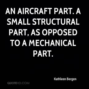 Kathleen Bergen  - An aircraft part. A small structural part, as opposed to a mechanical part.