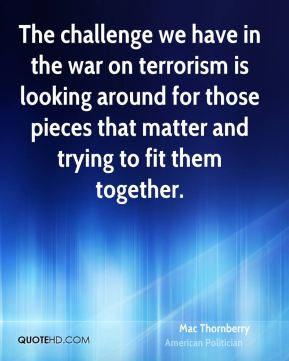 The challenge we have in the war on terrorism is looking around for those pieces that matter and trying to fit them together.