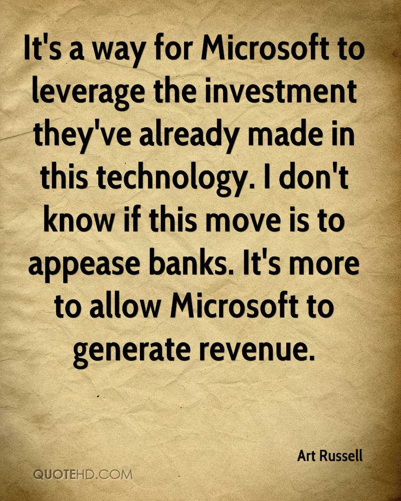 It's a way for Microsoft to leverage the investment they've already made in this technology. I don't know if this move is to appease banks. It's more to allow Microsoft to generate revenue.