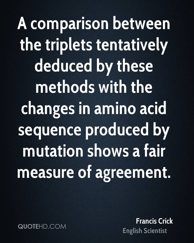 A comparison between the triplets tentatively deduced by these methods with the changes in amino acid sequence produced by mutation shows a fair measure of agreement.