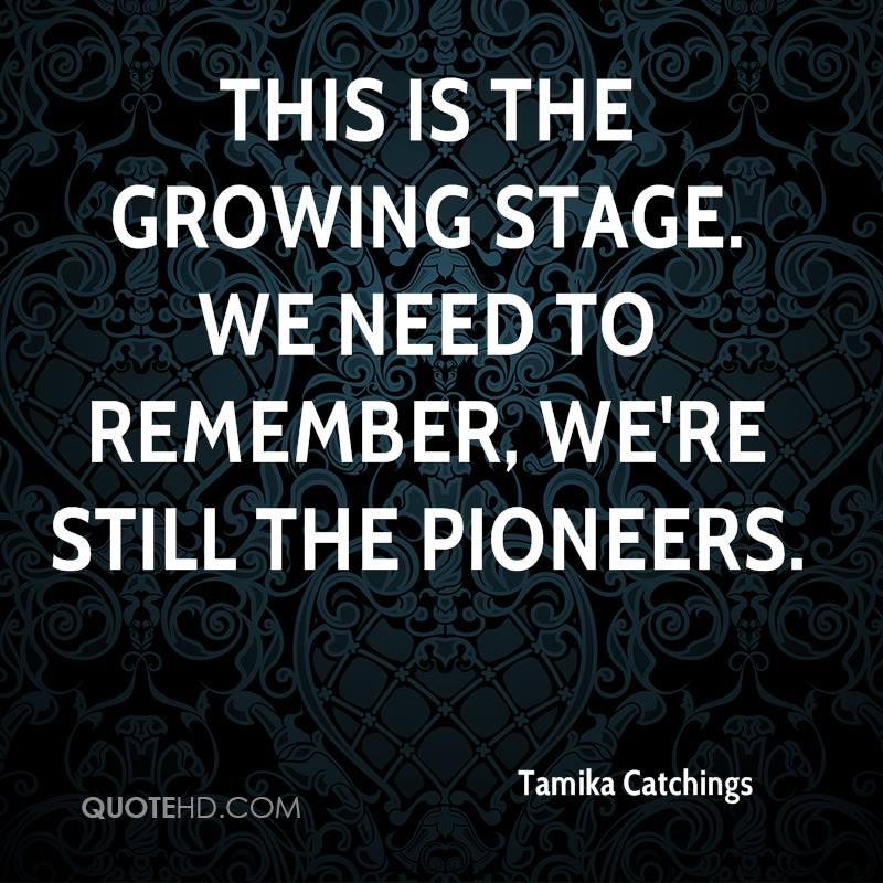 This is the growing stage. We need to remember, we're still the pioneers.