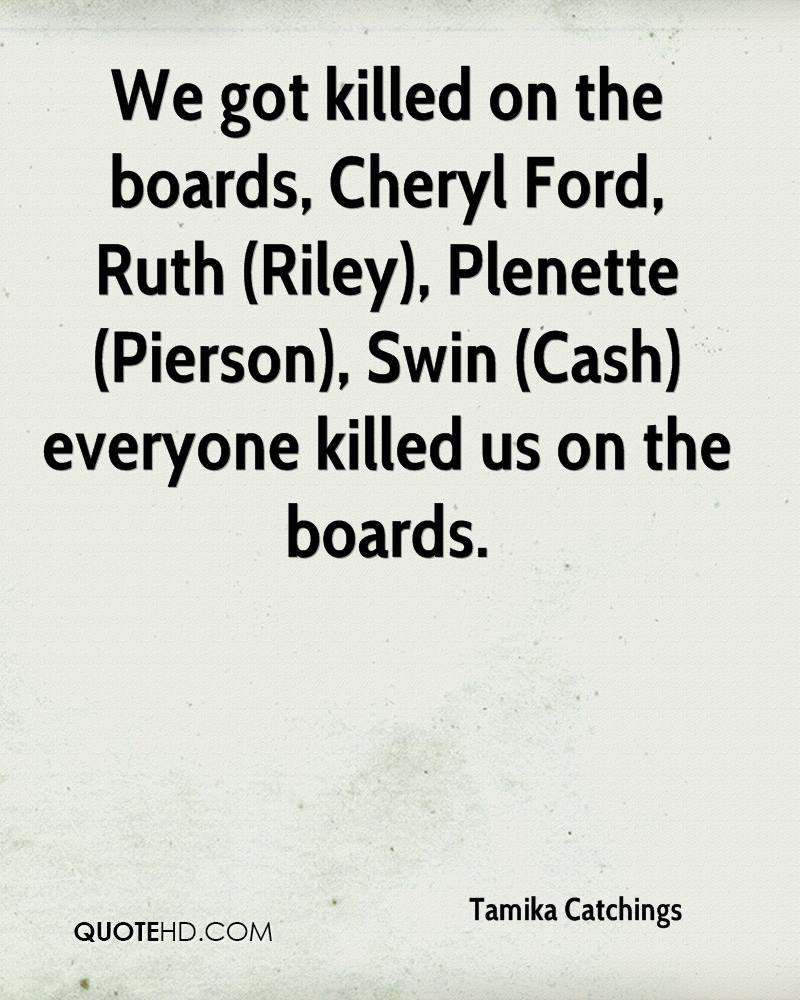 We got killed on the boards, Cheryl Ford, Ruth (Riley), Plenette (Pierson), Swin (Cash) everyone killed us on the boards.