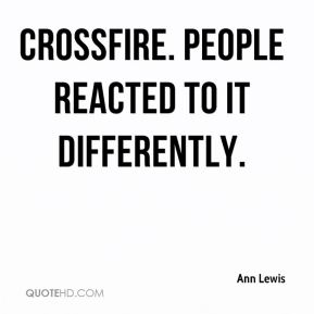 Ann Lewis - Crossfire. People reacted to it differently.