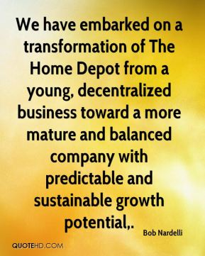 We have embarked on a transformation of The Home Depot from a young, decentralized business toward a more mature and balanced company with predictable and sustainable growth potential.