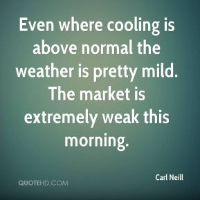 Carl Neill - Even where cooling is above normal the weather is pretty mild. The market is extremely weak this morning.