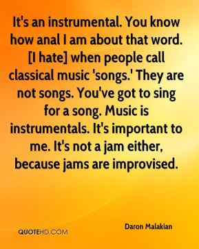 Daron Malakian - It's an instrumental. You know how anal I am about that word. [I hate] when people call classical music 'songs.' They are not songs. You've got to sing for a song. Music is instrumentals. It's important to me. It's not a jam either, because jams are improvised.