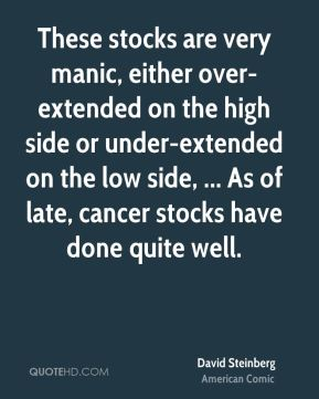 David Steinberg - These stocks are very manic, either over-extended on the high side or under-extended on the low side, ... As of late, cancer stocks have done quite well.