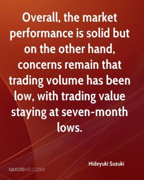 Hideyuki Suzuki - Overall, the market performance is solid but on the other hand, concerns remain that trading volume has been low, with trading value staying at seven-month lows.