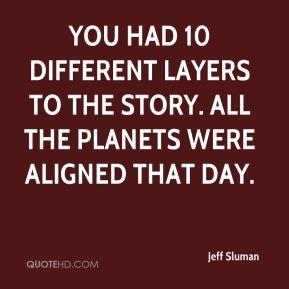 Jeff Sluman  - You had 10 different layers to the story. All the planets were aligned that day.