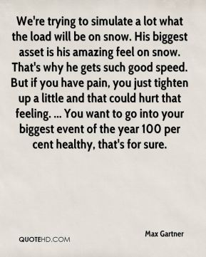 We're trying to simulate a lot what the load will be on snow. His biggest asset is his amazing feel on snow. That's why he gets such good speed. But if you have pain, you just tighten up a little and that could hurt that feeling. ... You want to go into your biggest event of the year 100 per cent healthy, that's for sure.