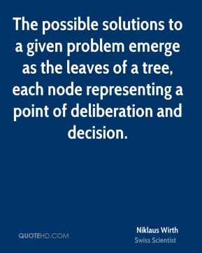 The possible solutions to a given problem emerge as the leaves of a tree, each node representing a point of deliberation and decision.