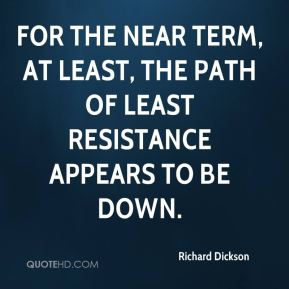 For the near term, at least, the path of least resistance appears to be down.