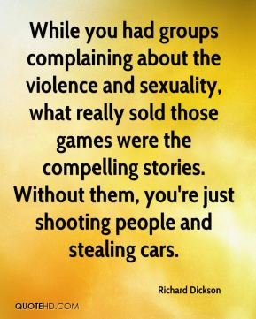 While you had groups complaining about the violence and sexuality, what really sold those games were the compelling stories. Without them, you're just shooting people and stealing cars.