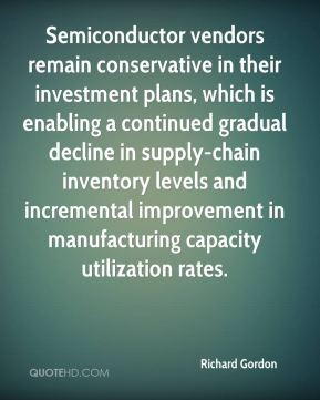 Richard Gordon  - Semiconductor vendors remain conservative in their investment plans, which is enabling a continued gradual decline in supply-chain inventory levels and incremental improvement in manufacturing capacity utilization rates.