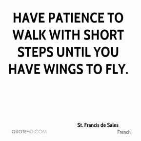 Have patience to walk with short steps until you have wings to fly.