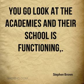 You go look at the Academies and their school is functioning.