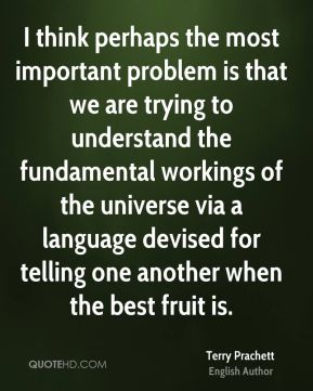 I think perhaps the most important problem is that we are trying to understand the fundamental workings of the universe via a language devised for telling one another when the best fruit is.