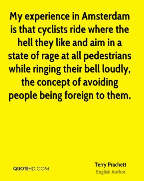 My experience in Amsterdam is that cyclists ride where the hell they like and aim in a state of rage at all pedestrians while ringing their bell loudly, the concept of avoiding people being foreign to them.
