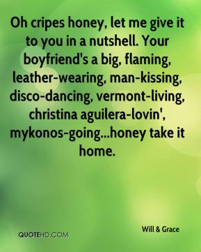 Will & Grace  - Oh cripes honey, let me give it to you in a nutshell. Your boyfriend's a big, flaming, leather-wearing, man-kissing, disco-dancing, vermont-living, christina aguilera-lovin', mykonos-going...honey take it home.