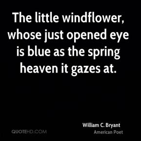 The little windflower, whose just opened eye is blue as the spring heaven it gazes at.