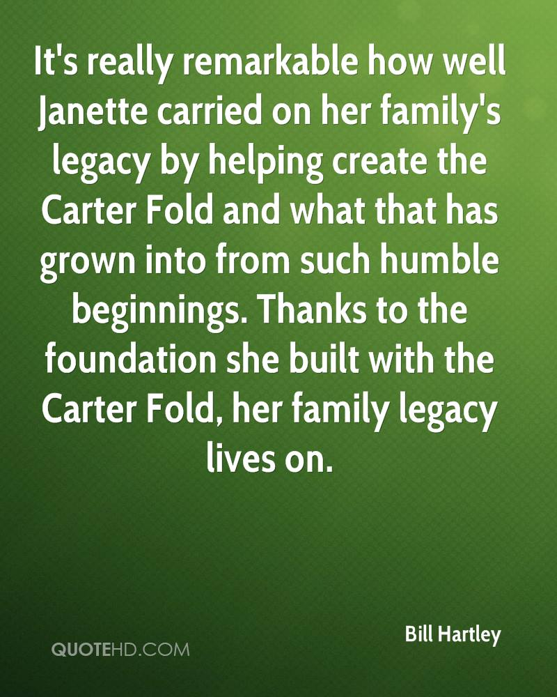 It's really remarkable how well Janette carried on her family's legacy by helping create the Carter Fold and what that has grown into from such humble beginnings. Thanks to the foundation she built with the Carter Fold, her family legacy lives on.