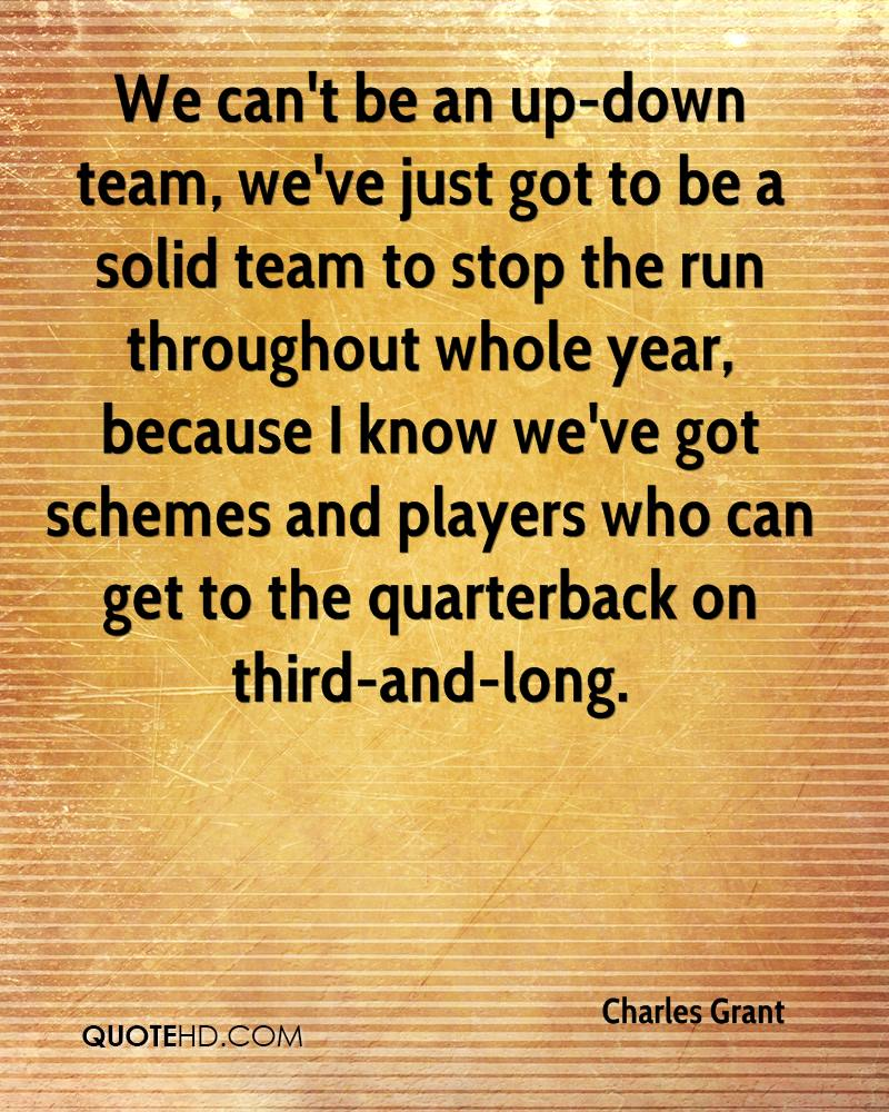 We can't be an up-down team, we've just got to be a solid team to stop the run throughout whole year, because I know we've got schemes and players who can get to the quarterback on third-and-long.