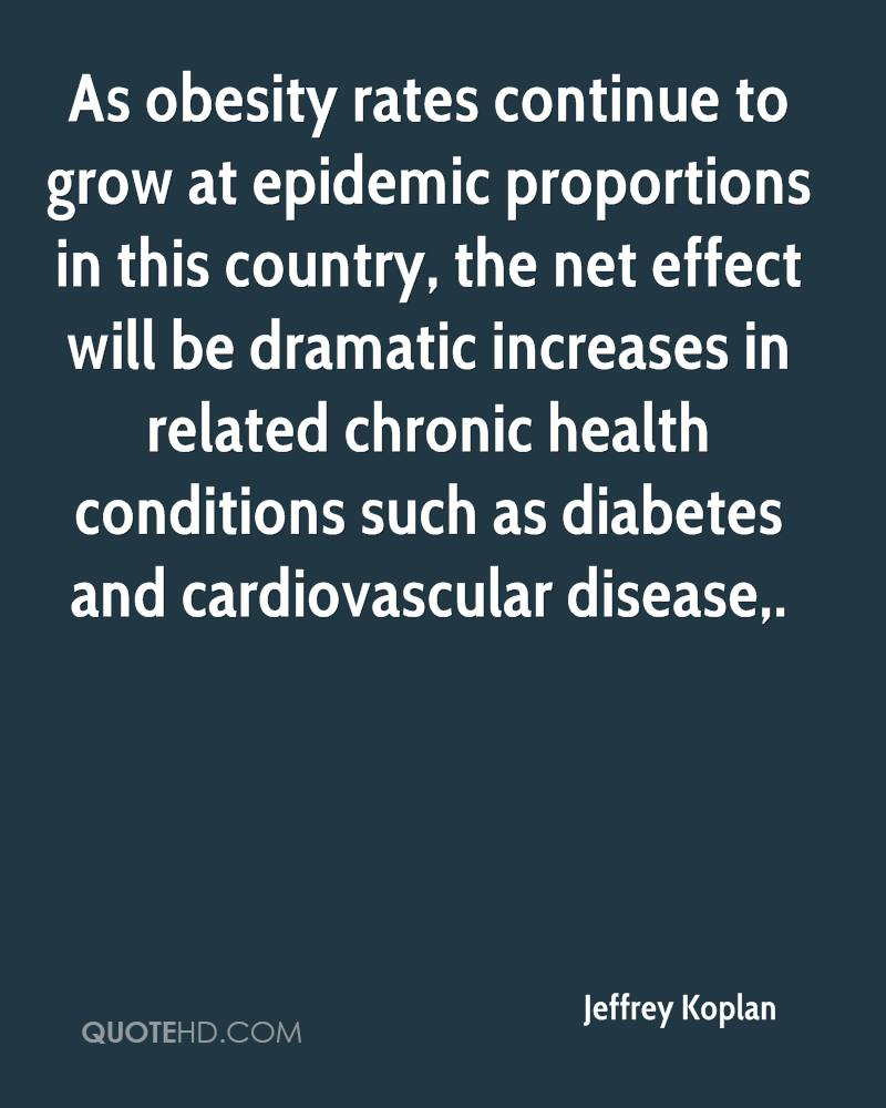 As obesity rates continue to grow at epidemic proportions in this country, the net effect will be dramatic increases in related chronic health conditions such as diabetes and cardiovascular disease.