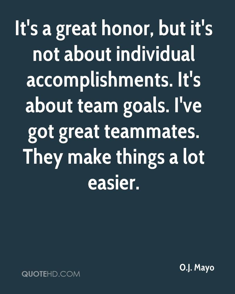 It's a great honor, but it's not about individual accomplishments. It's about team goals. I've got great teammates. They make things a lot easier.