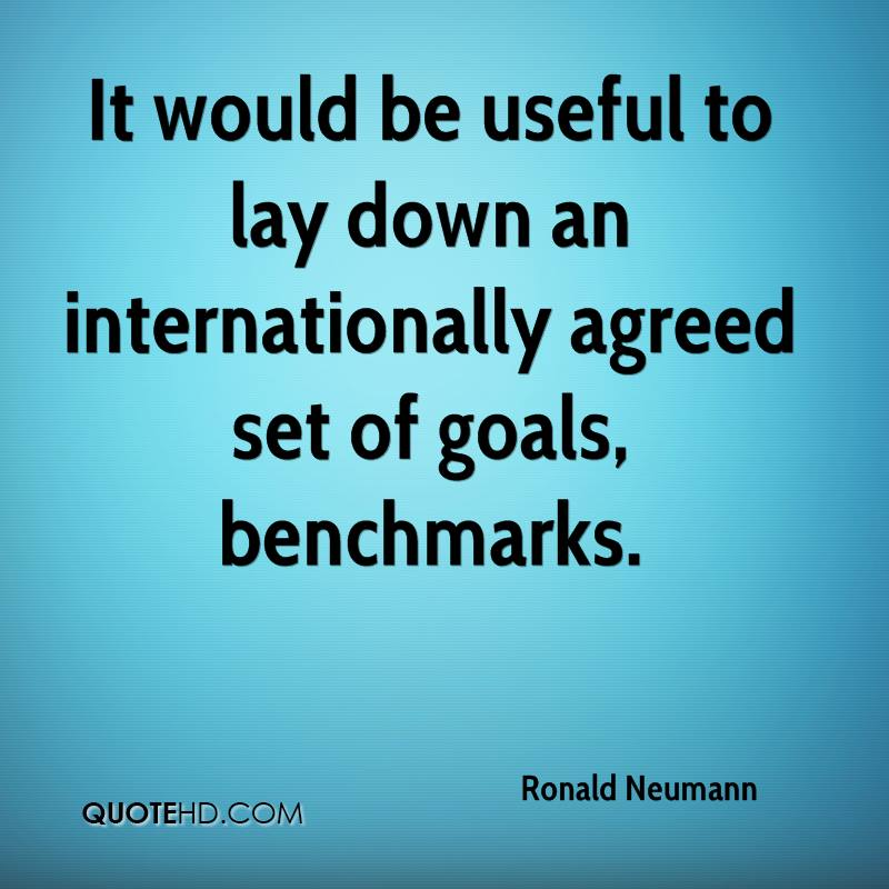 It would be useful to lay down an internationally agreed set of goals, benchmarks.