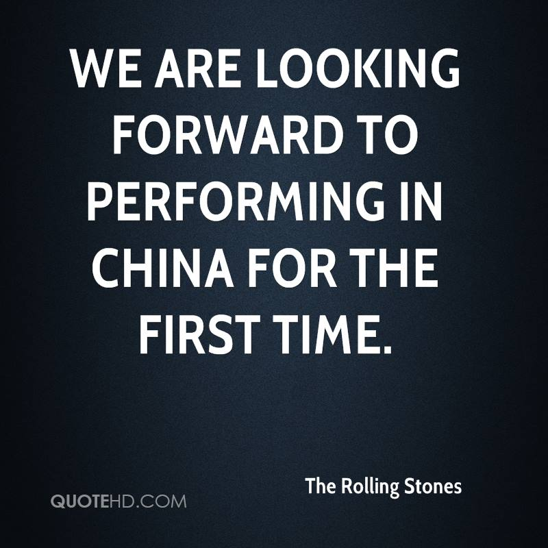 We are looking forward to performing in China for the first time.