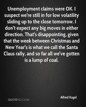 Unemployment claims were OK. I suspect we're still in for low volatility sliding up to the close tomorrow. I don't expect any big moves in either direction. That's disappointing, given that the week between Christmas and New Year's is what we call the Santa Claus rally, and so far all we've gotten is a lump of coal.