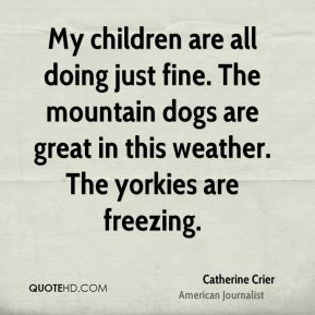 My children are all doing just fine. The mountain dogs are great in this weather. The yorkies are freezing.