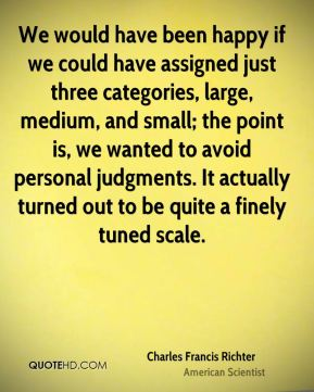 Charles Francis Richter - We would have been happy if we could have assigned just three categories, large, medium, and small; the point is, we wanted to avoid personal judgments. It actually turned out to be quite a finely tuned scale.
