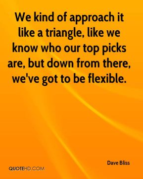 We kind of approach it like a triangle, like we know who our top picks are, but down from there, we've got to be flexible.