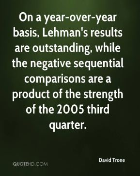 On a year-over-year basis, Lehman's results are outstanding, while the negative sequential comparisons are a product of the strength of the 2005 third quarter.