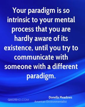 Donella Meadows - Your paradigm is so intrinsic to your mental process that you are hardly aware of its existence, until you try to communicate with someone with a different paradigm.