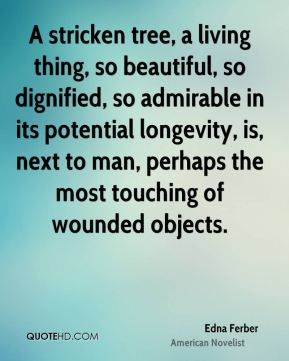 A stricken tree, a living thing, so beautiful, so dignified, so admirable in its potential longevity, is, next to man, perhaps the most touching of wounded objects.